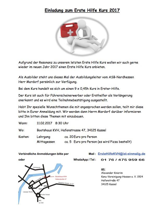 erste hilfe kurs am 11. februar 2017 | kanu-vereinigung-hessen, Einladung